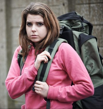 Homeless Teenage Girl On Street With Rucksack